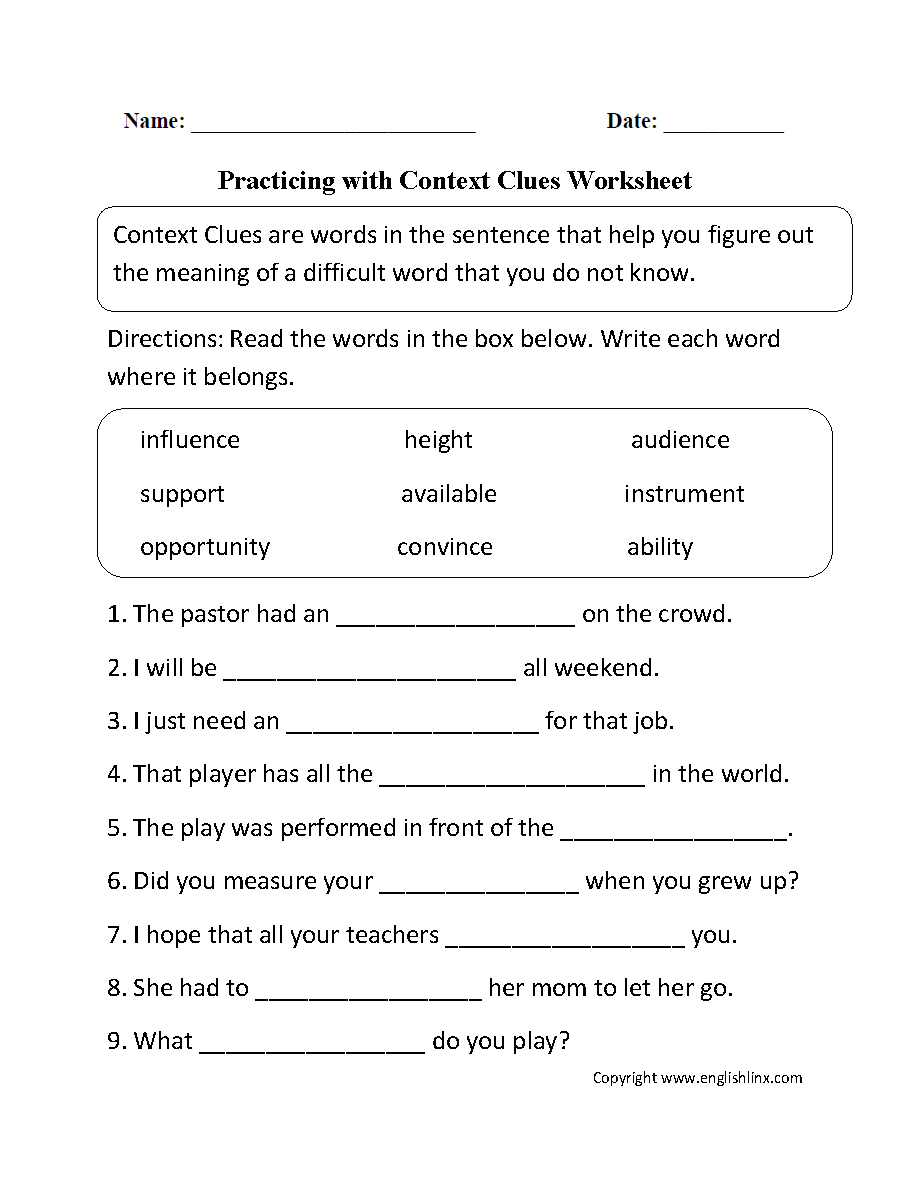 Reading Worksheets   Context Clues Worksheets   Grade 7 Vocabulary Worksheets Printable