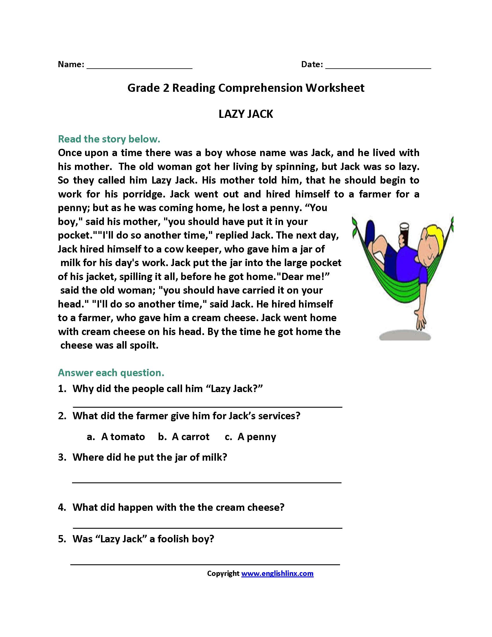 Reading Worksheets | Second Grade Reading Worksheets | Second Grade Reading Comprehension Printable Worksheets