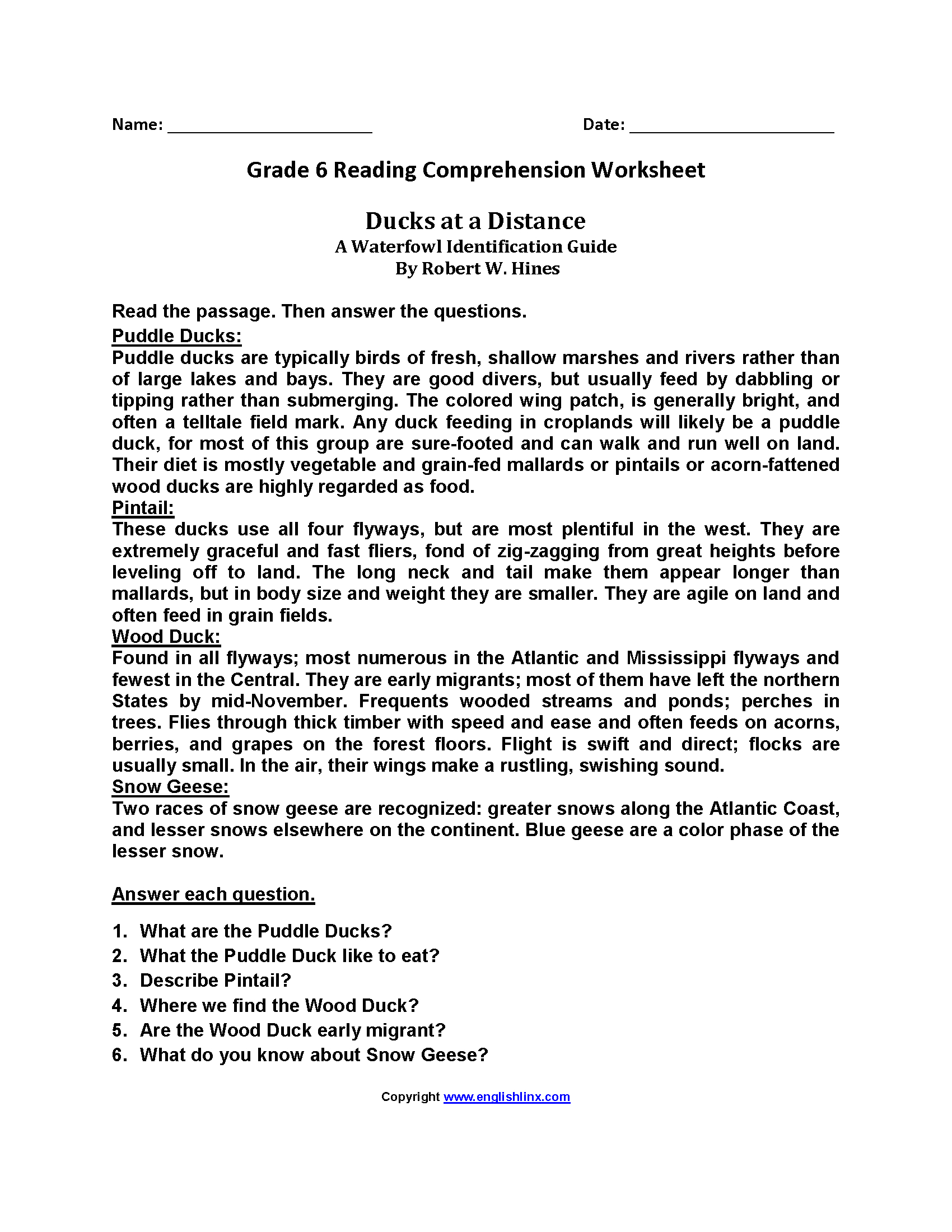 Reading Worksheets | Sixth Grade Reading Worksheets | Free Printable 6Th Grade Reading Worksheets