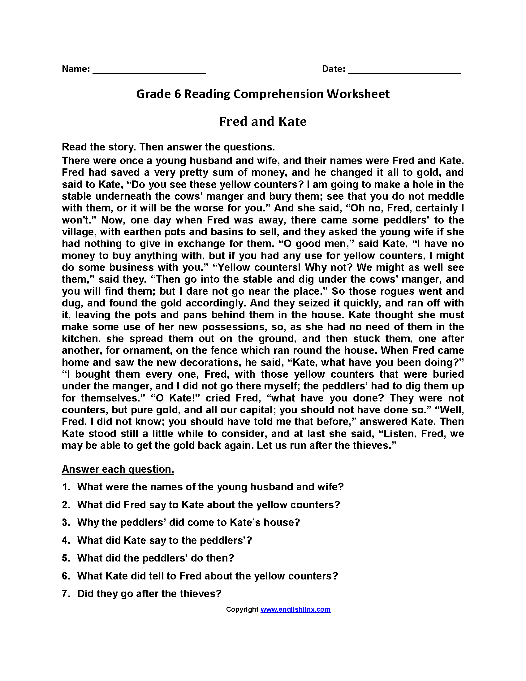 Reading Worksheets | Sixth Grade Reading Worksheets | Printable Comprehension Worksheets For Grade 6