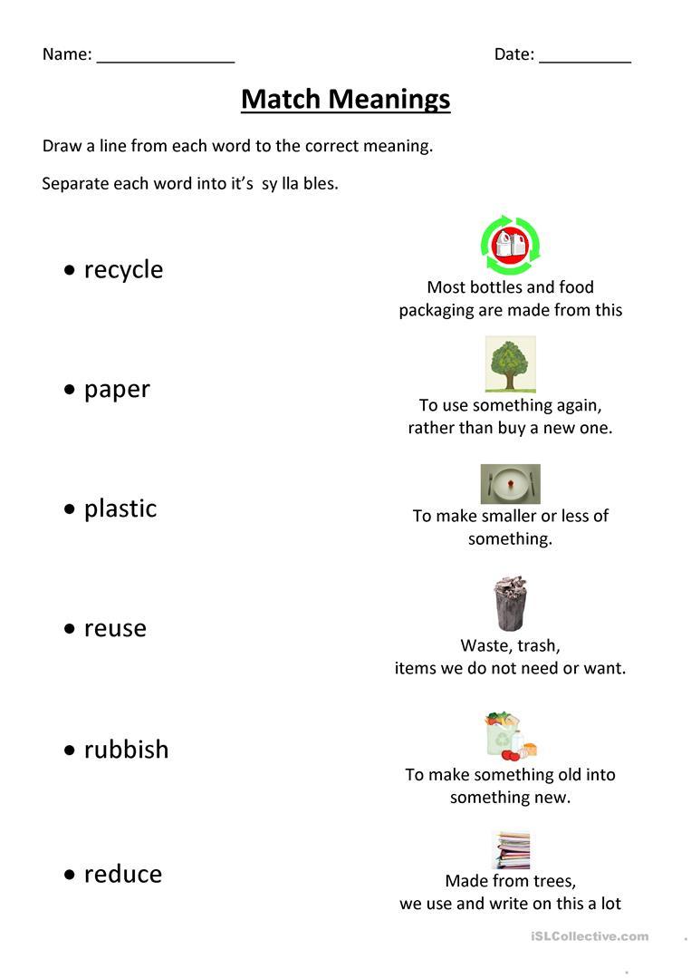 Recycling Match Worksheet - Free Esl Printable Worksheets Made | Recycle Worksheets Printable