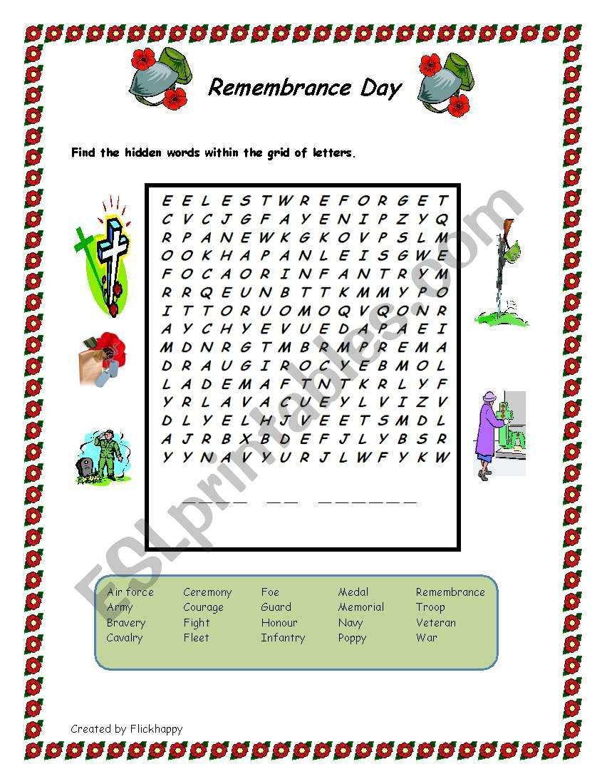 Remembrance Day -Wordsearch - Esl Worksheetflickhappy | Memorial Day Free Printable Worksheets
