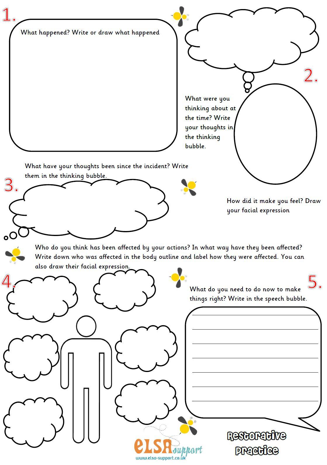 Restorative Practice Poster Set - Elsa Support | Restorative Justice Printable Worksheets