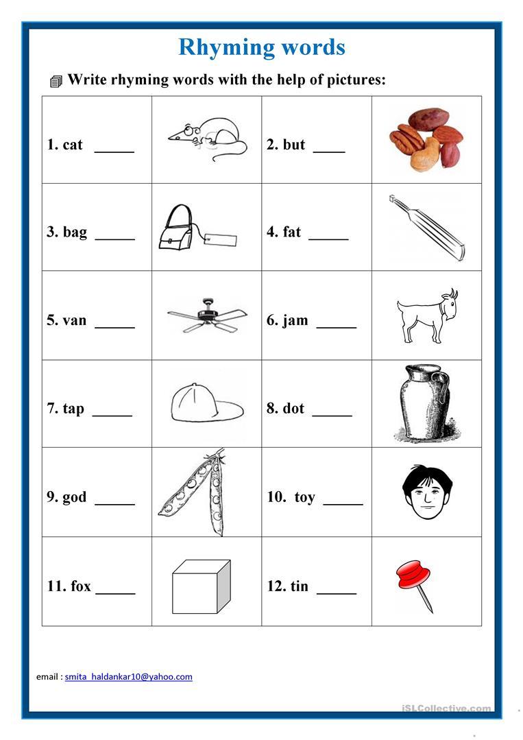 Rhyming Words Worksheet - Free Esl Printable Worksheets Madeteachers   Free Printable Rhyming Words Worksheets