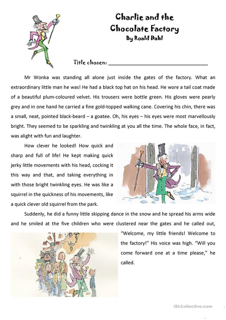 Roald Dahl - Charlie And The Chocolate Factory Extract Worksheet | Charlie And The Chocolate Factory Worksheets Printable