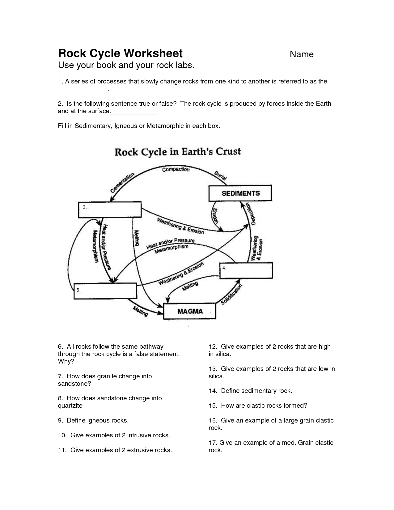 Rock Cycle Worksheet - Google Search | School | Pinterest - Rock | Rock Cycle Worksheets Free Printable
