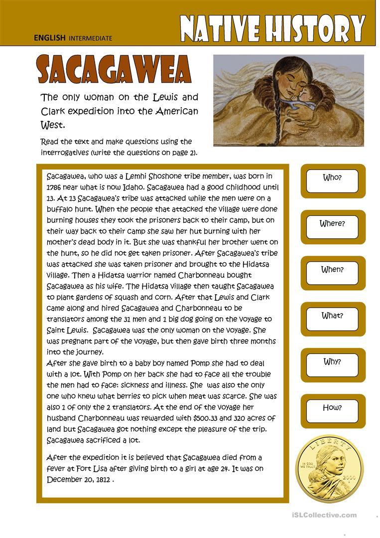 Sacagewea (2 Pgs) Worksheet - Free Esl Printable Worksheets Made | Sacagawea Printable Worksheets