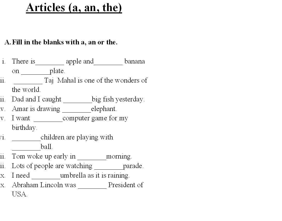 Saved Free Printable English Grammar Worksheets For Grade 6 2 | Free Printable Worksheets On Articles For Grade 1