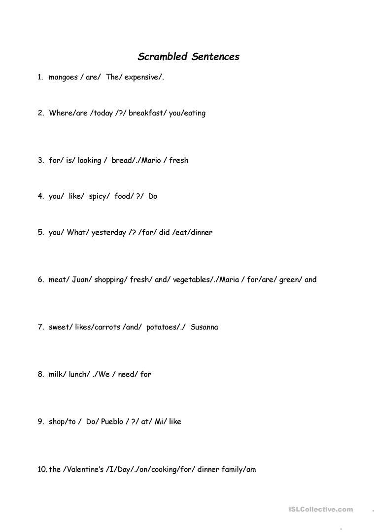 Scrambled Sentences Worksheet - Free Esl Printable Worksheets Made | Free Printable Scrambled Sentences Worksheets