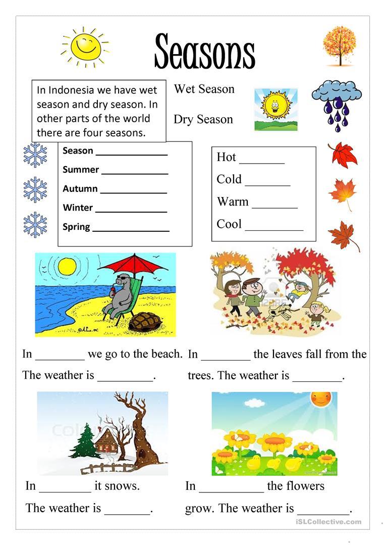 Season Worksheet - Free Esl Printable Worksheets Madeteachers | Free Printable Seasons Worksheets