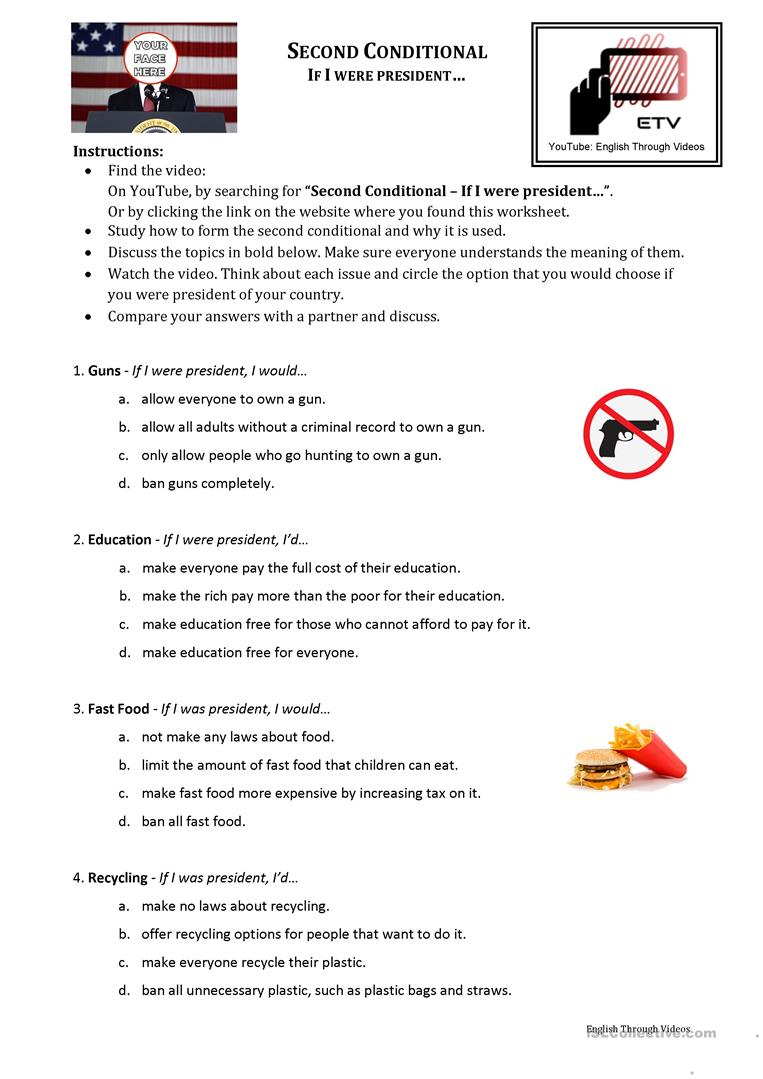 Second Conditional - If I Were President Worksheet - Free Esl | If I Were President Printable Worksheet