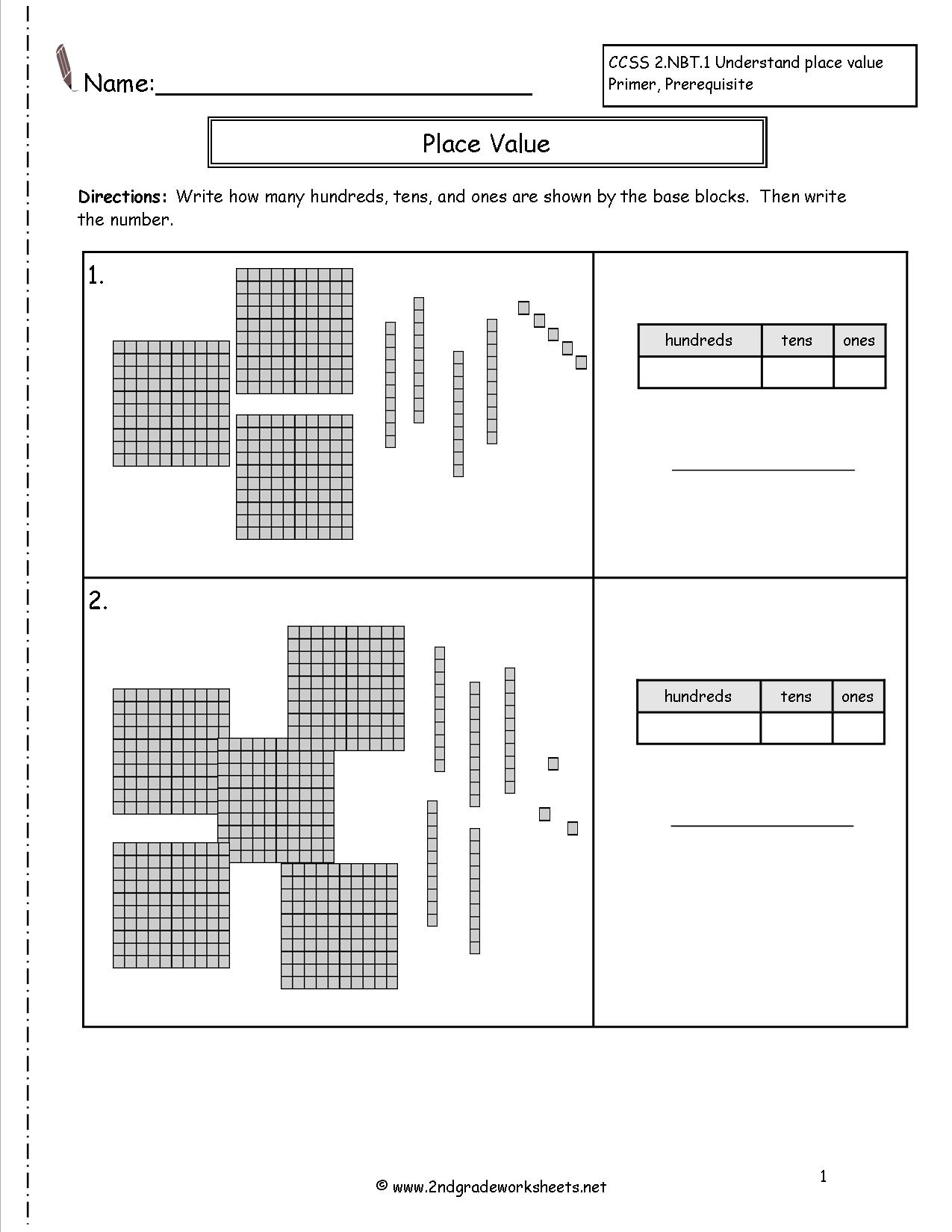 Second Grade Place Value Worksheets | Free Printable Base Ten Block Worksheets