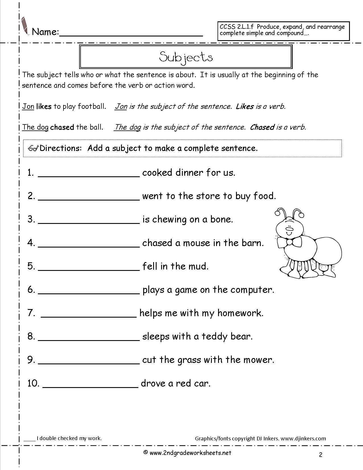 Second Grade Sentences Worksheets, Ccss 2.l.1.f Worksheets. | Free Printable Subject Predicate Worksheets 2Nd Grade