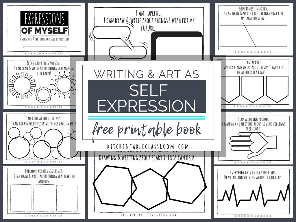 Self Expression Through Writing & Art- Free Self Esteem Worksheets | Self Esteem Worksheets For Kids Free Printable