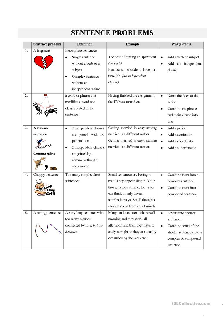 Sentence Problems Worksheet - Free Esl Printable Worksheets Made | Free Printable Worksheets On Run On Sentences