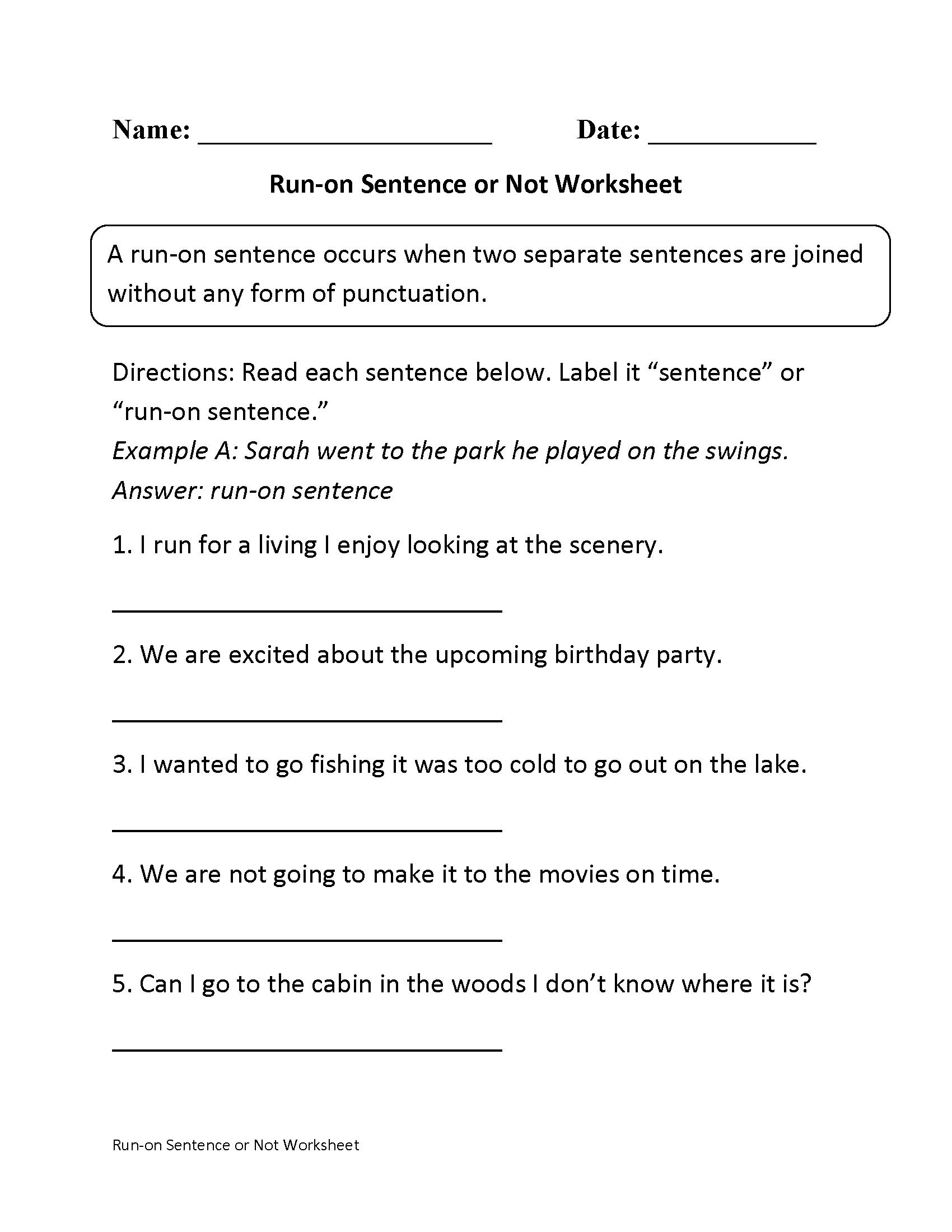 Sentences Worksheets | Run On Sentences Worksheets | Free Printable Worksheets On Run On Sentences