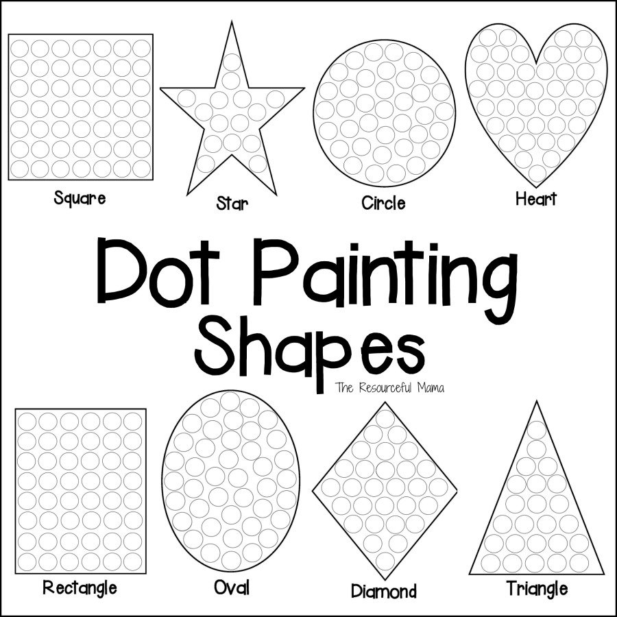Shapes Dot Painting {Free Printable} - The Resourceful Mama - Free | Free Printable Fine Motor Skills Worksheets