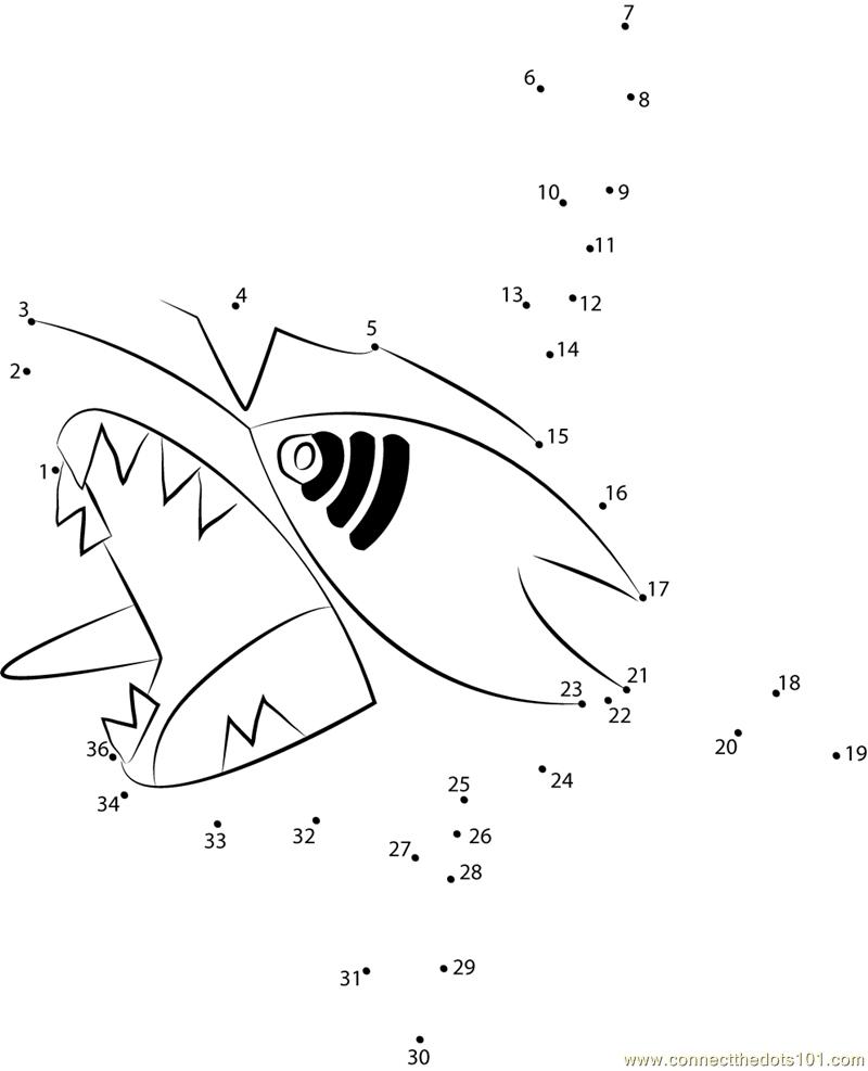 Sharpedo Water Pokemon Dot To Dot Printable Worksheet - Connect The Dots   Pokemon Worksheets Printable