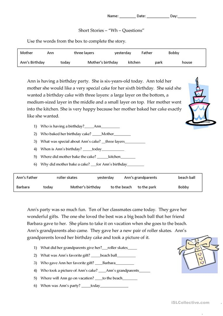 Short Stories Wh-Questions - Answers Worksheet - Free Esl Printable | Free Printable 5 W's Worksheets
