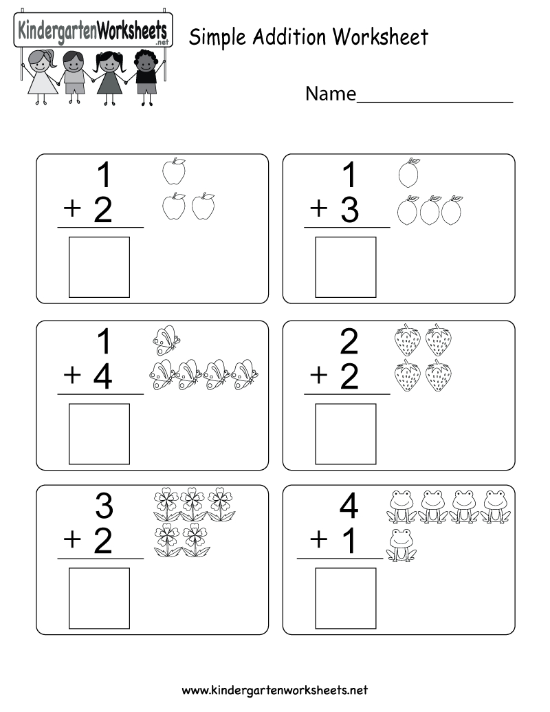Simple Addition Worksheet - Free Kindergarten Math Worksheet For | Free Printable Simple Math Worksheets