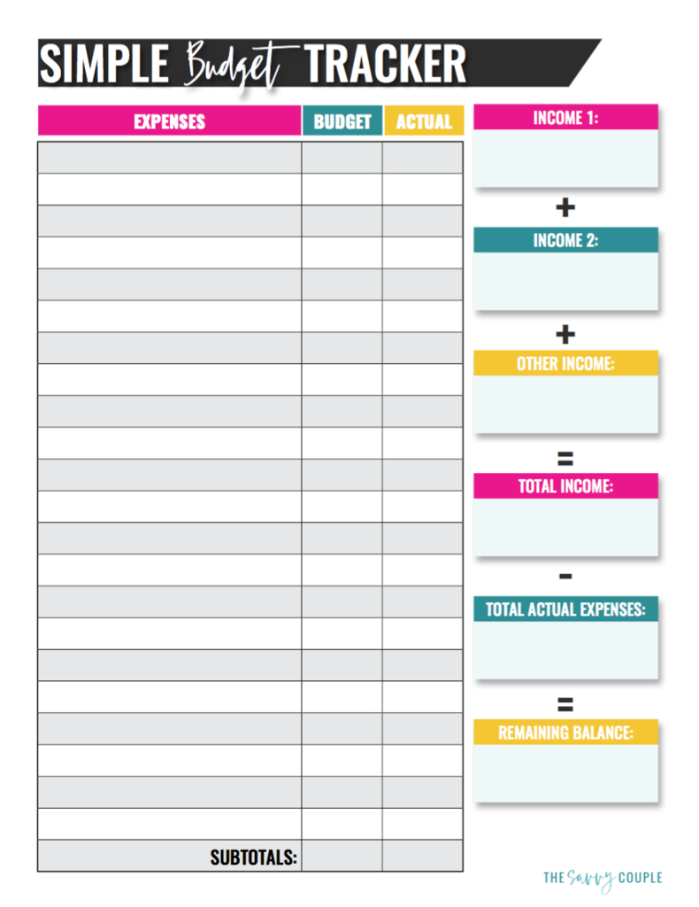 Simple Monthly Budget Tracker (Printable & Digital) | Printables | Printable Budget Worksheet