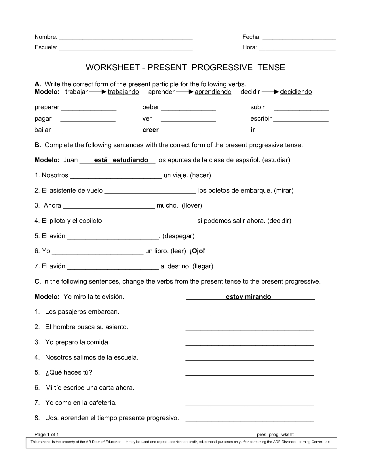 Spanish Worksheets Printables | Present Progressive Worksheet | Reflexive Verbs In Spanish Printable Worksheets