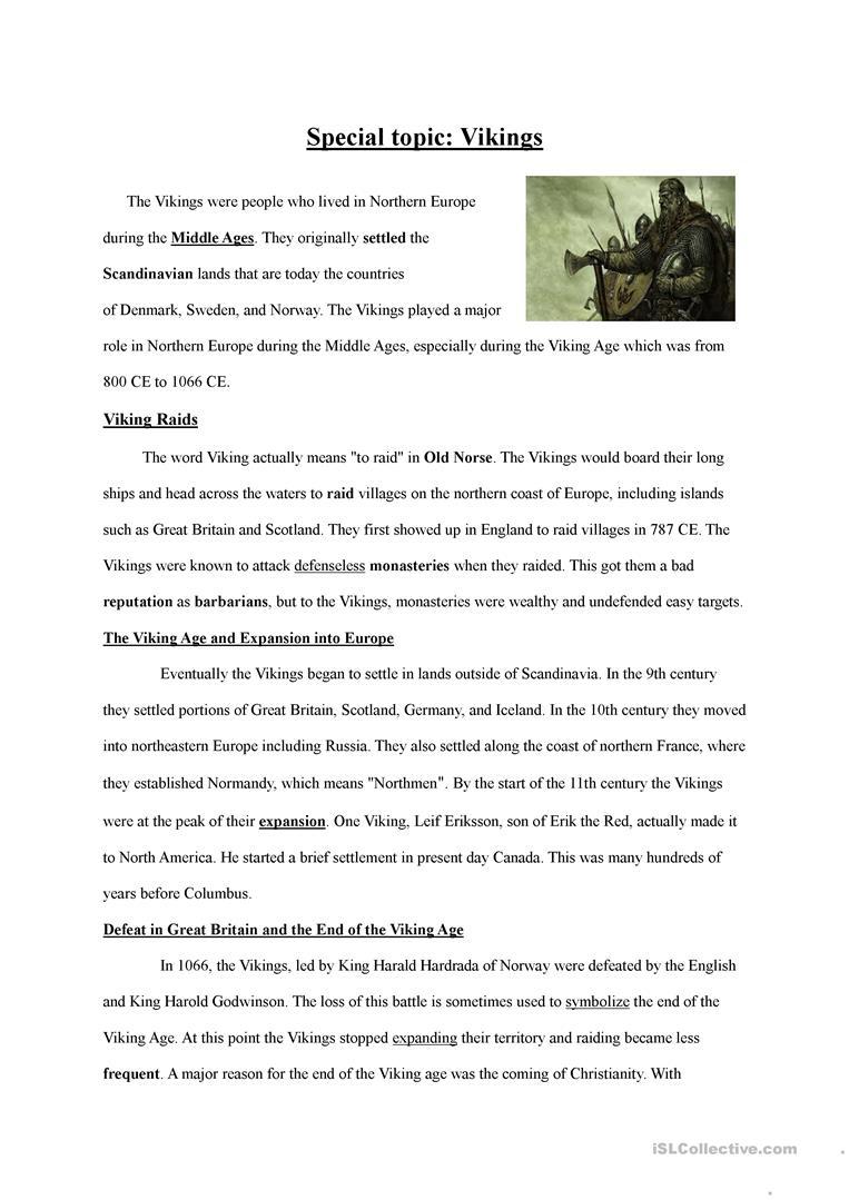 Special Topic 5 Worksheet - Free Esl Printable Worksheets Made | Viking Worksheets Printable