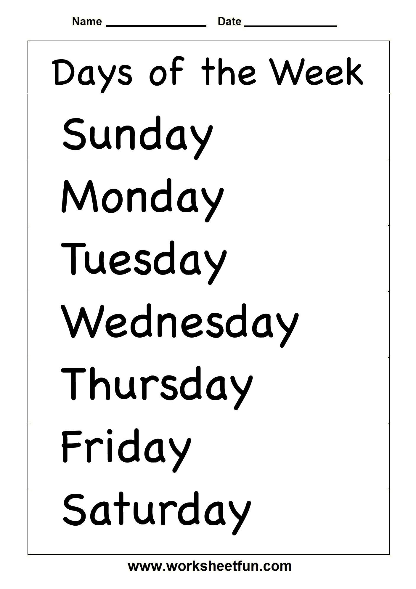 Spelling – Days Of The Week / Free Printable Worksheets – Worksheetfun | Days Of The Week Printable Worksheets