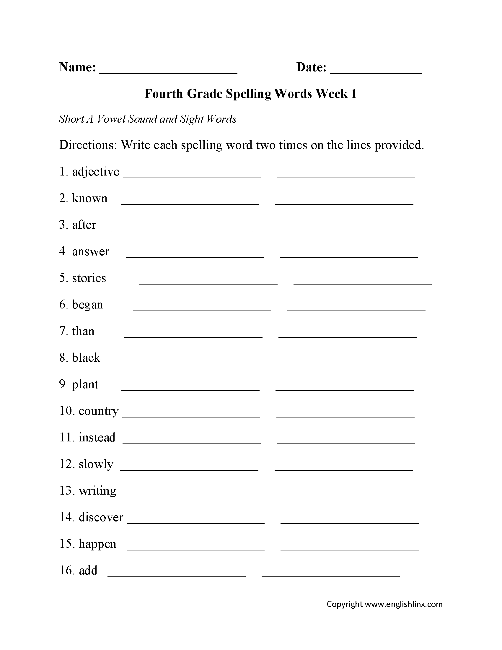 Spelling Worksheets | Fourth Grade Spelling Worksheets | Free Printable Spelling Worksheets