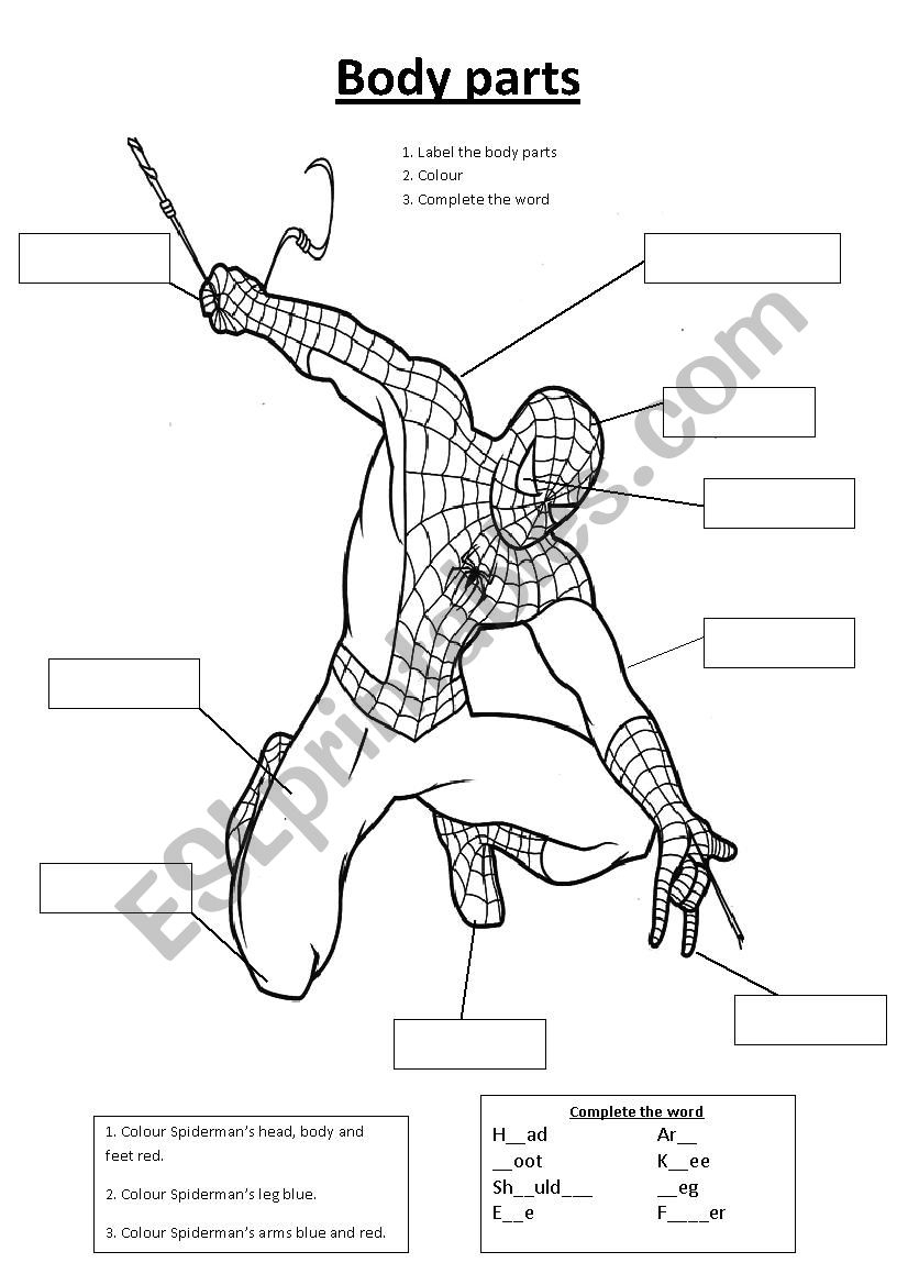Spiderman Body Parts - Esl Worksheetsarajbigg87 | Spiderman Worksheets Free Printables
