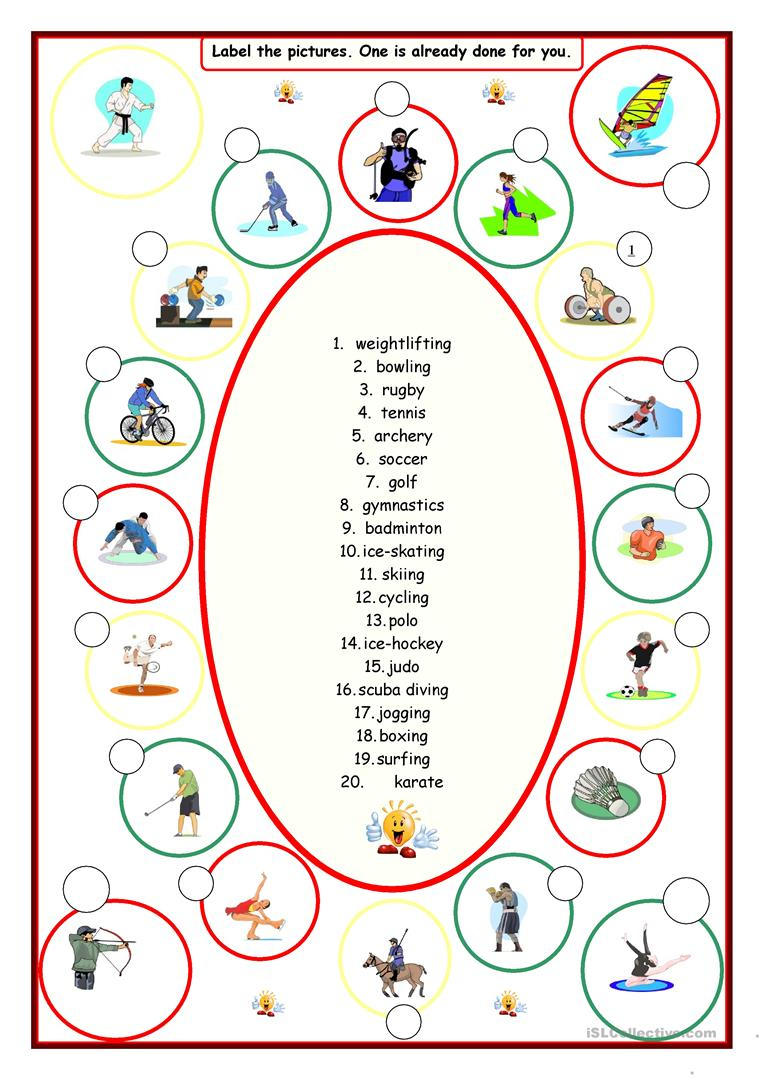 Sports (Label The Pictures) Worksheet - Free Esl Printable | Archery Printable Worksheets