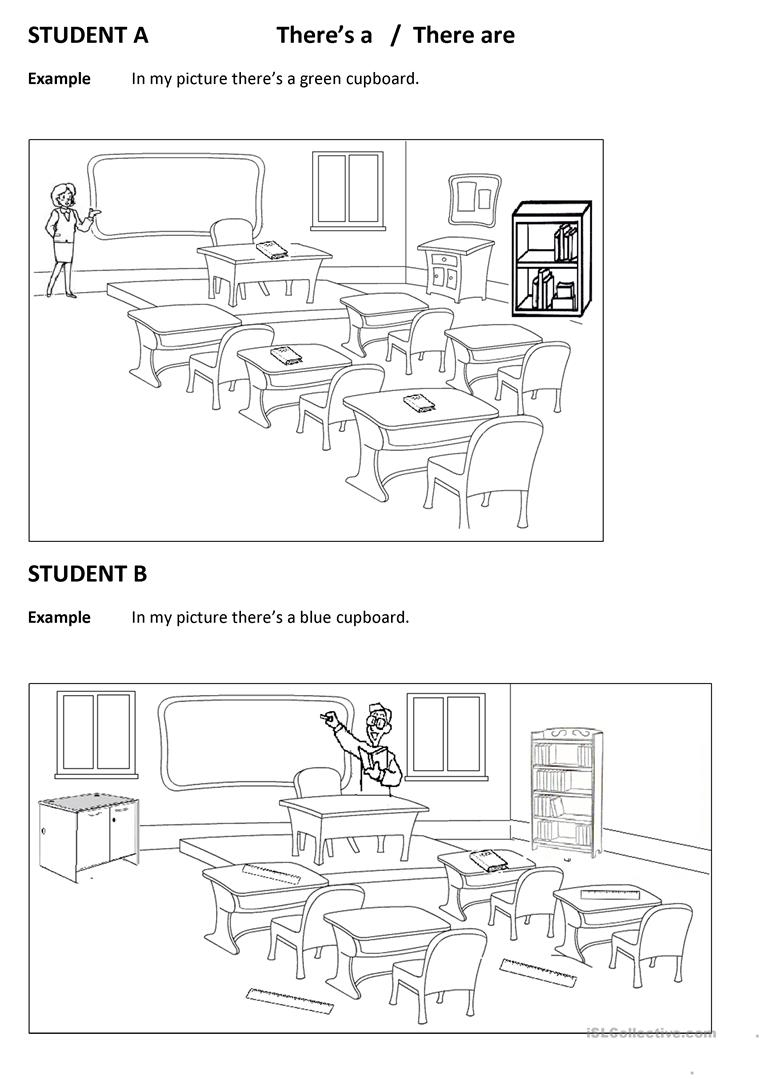 Spot The Differences Classroom (There Is There Are)) Worksheet | Spot The Difference Printable Worksheets For Adults