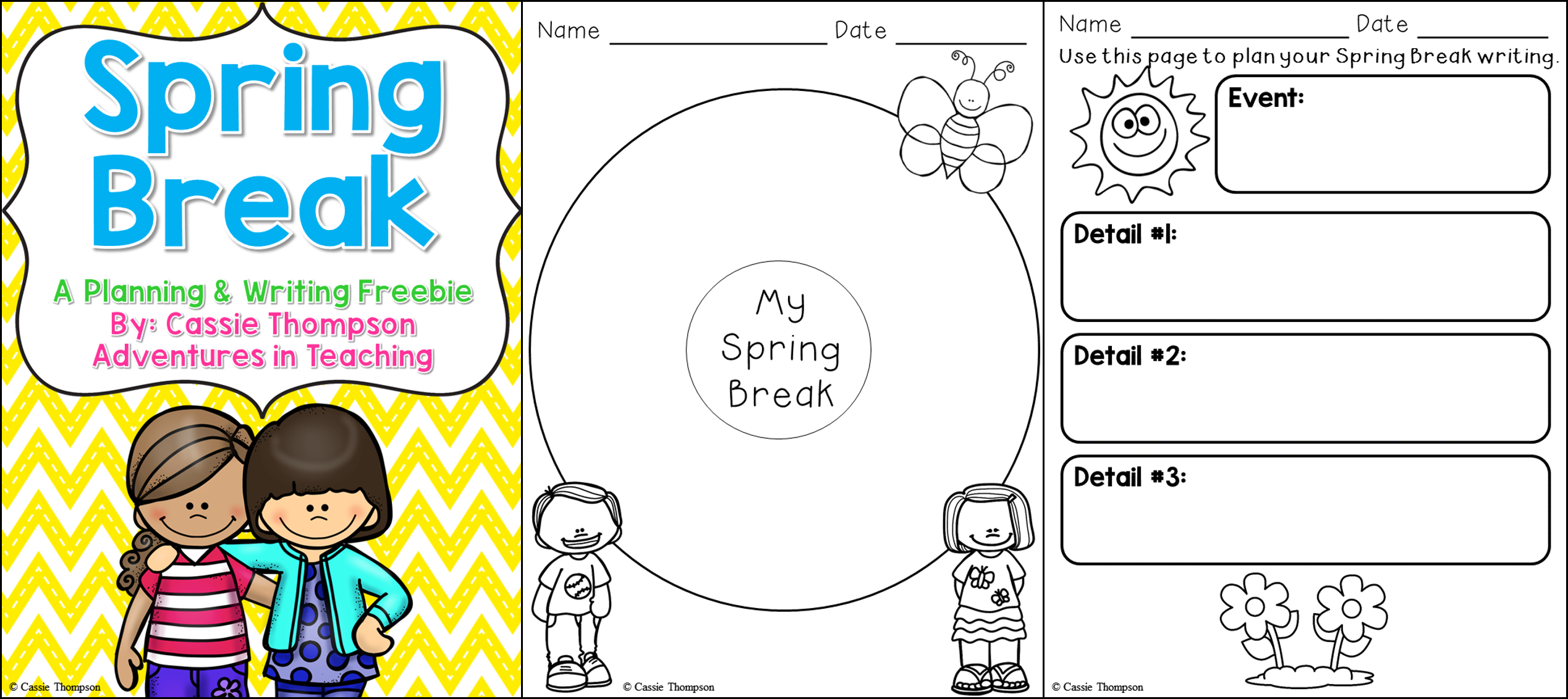 Spring Break Writing Freebie | Adventures In Teaching | Spring Break Printable Worksheets