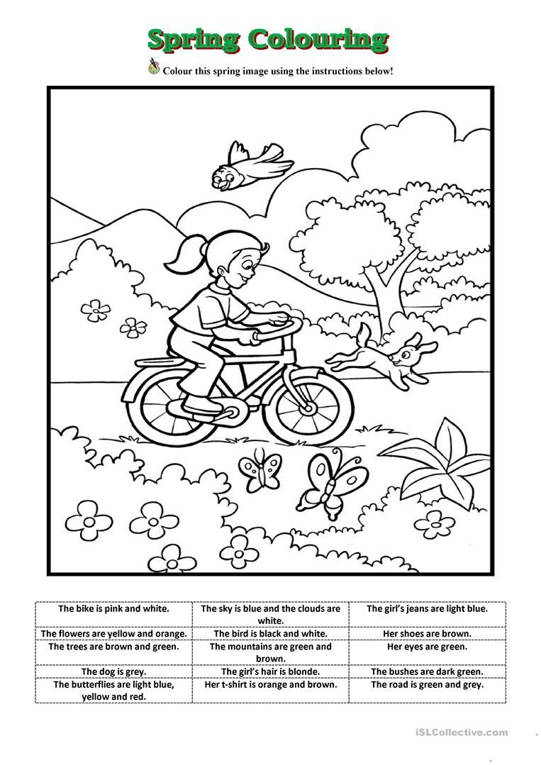 Spring Colouring Worksheet - Free Esl Printable Worksheets Made | Spring Printable Worksheets