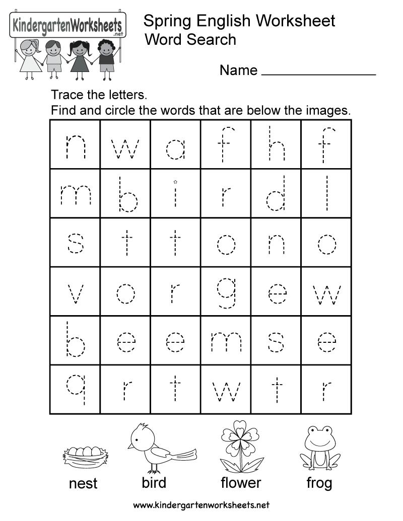 Spring English Worksheet - Free Kindergarten Seasonal Worksheet For | Free Printable Spring Worksheets For Kindergarten