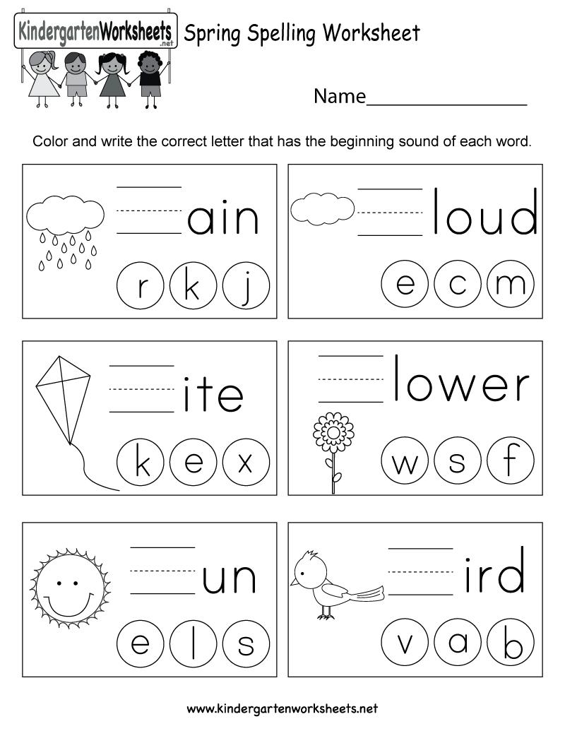 Spring Spelling Worksheet - Free Kindergarten Seasonal Worksheet For | Free Printable Spring Worksheets For Elementary