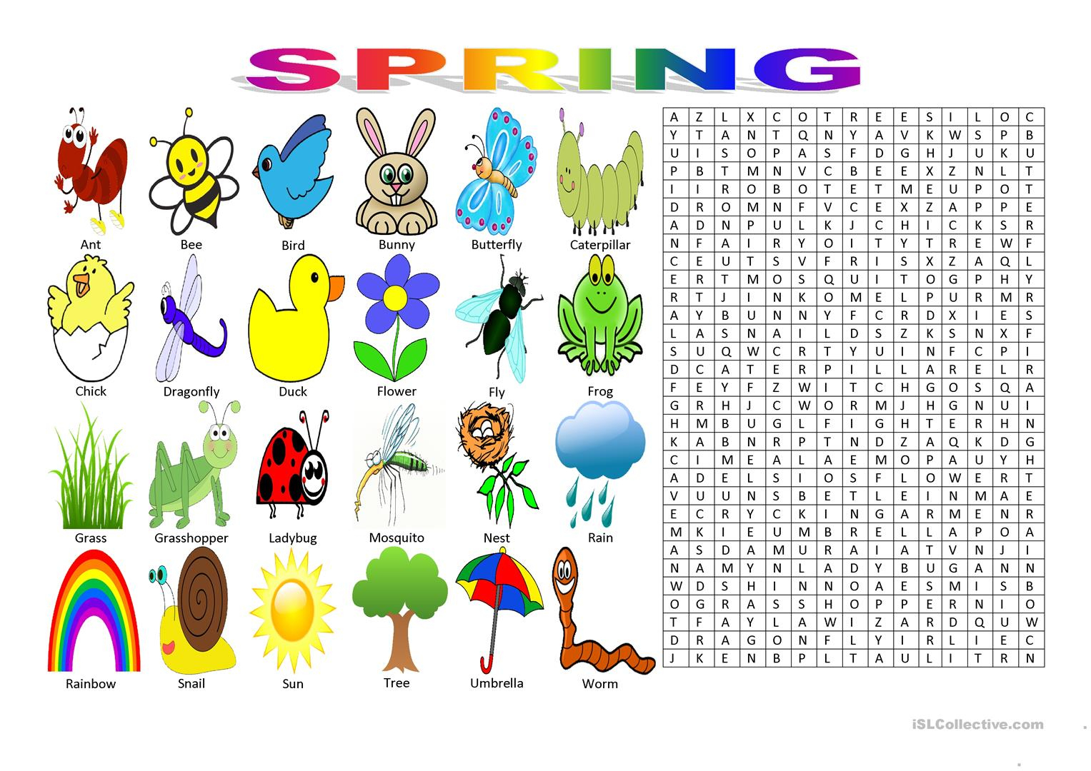 Spring Vocabulary (Wordsearch Puzzle) Worksheet - Free Esl Printable | Butterfly Word Search Printable Worksheets