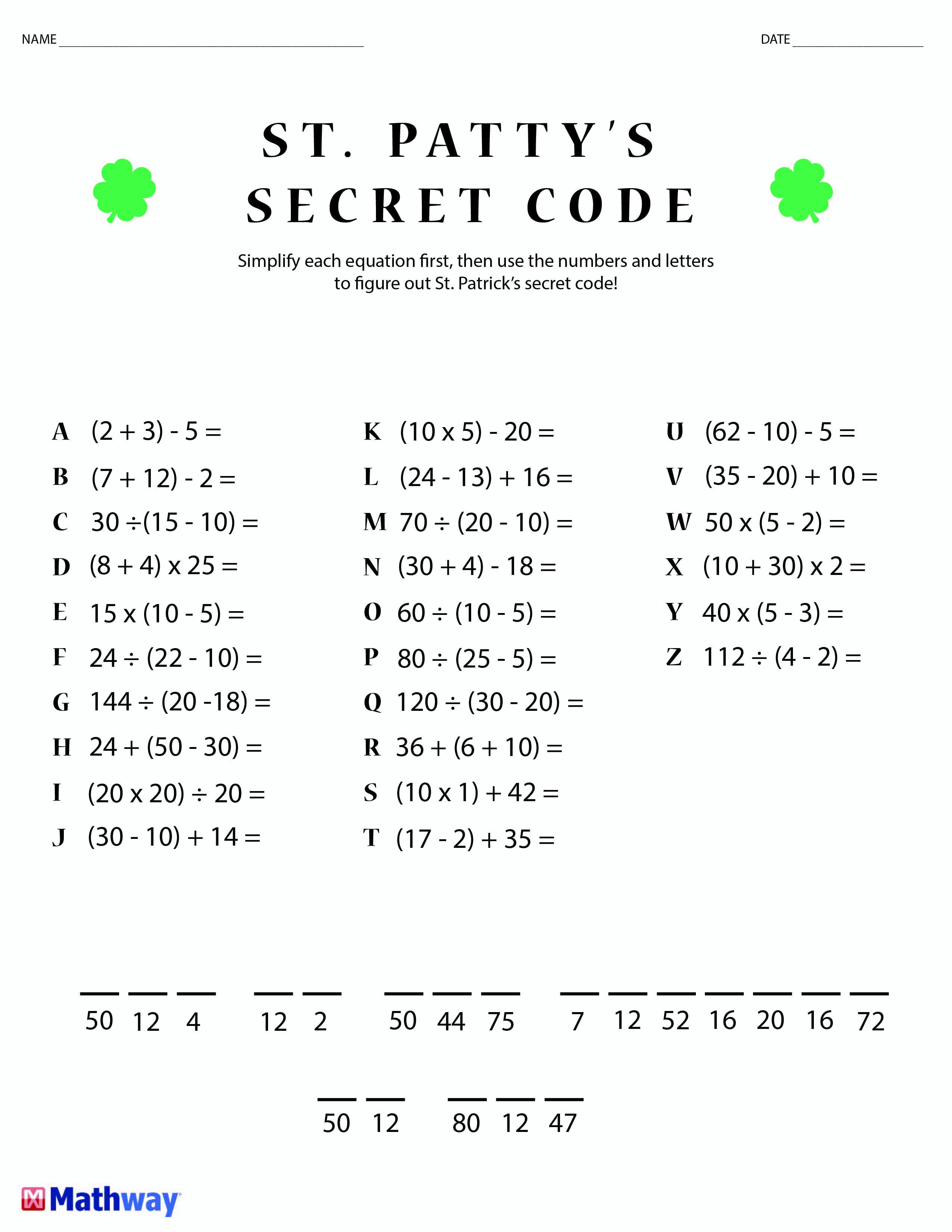 St. Patty's Day Crack The Secret Code Worksheet! Print This One Out   Printable Secret Code Worksheets