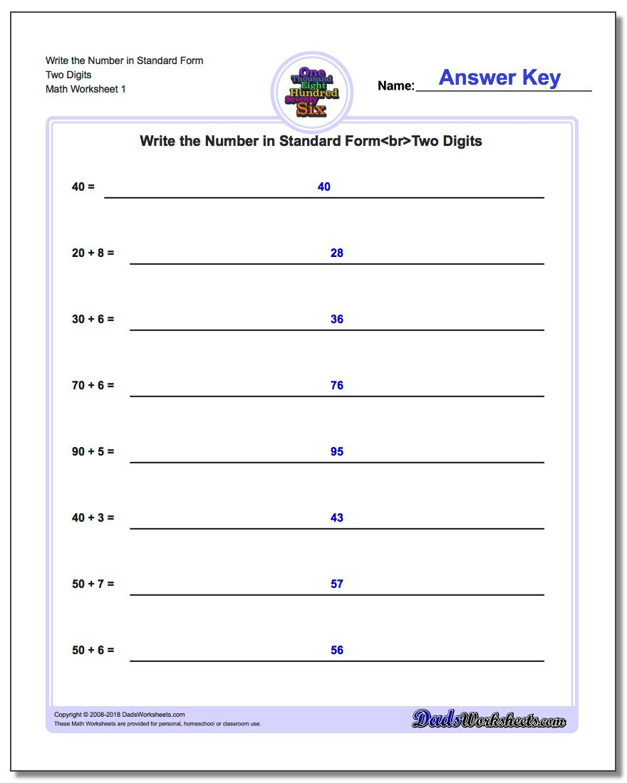 Standard, Expanded And Word Form   Free Printable Expanded Notation Worksheets