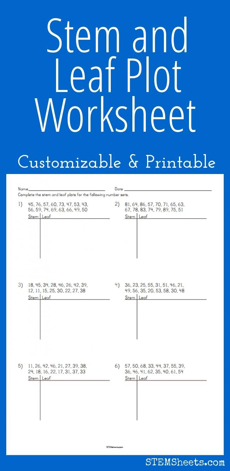 Stem And Leaf Plot Worksheet - Customizable And Printable   Math   Stem And Leaf Plot Printable Worksheets