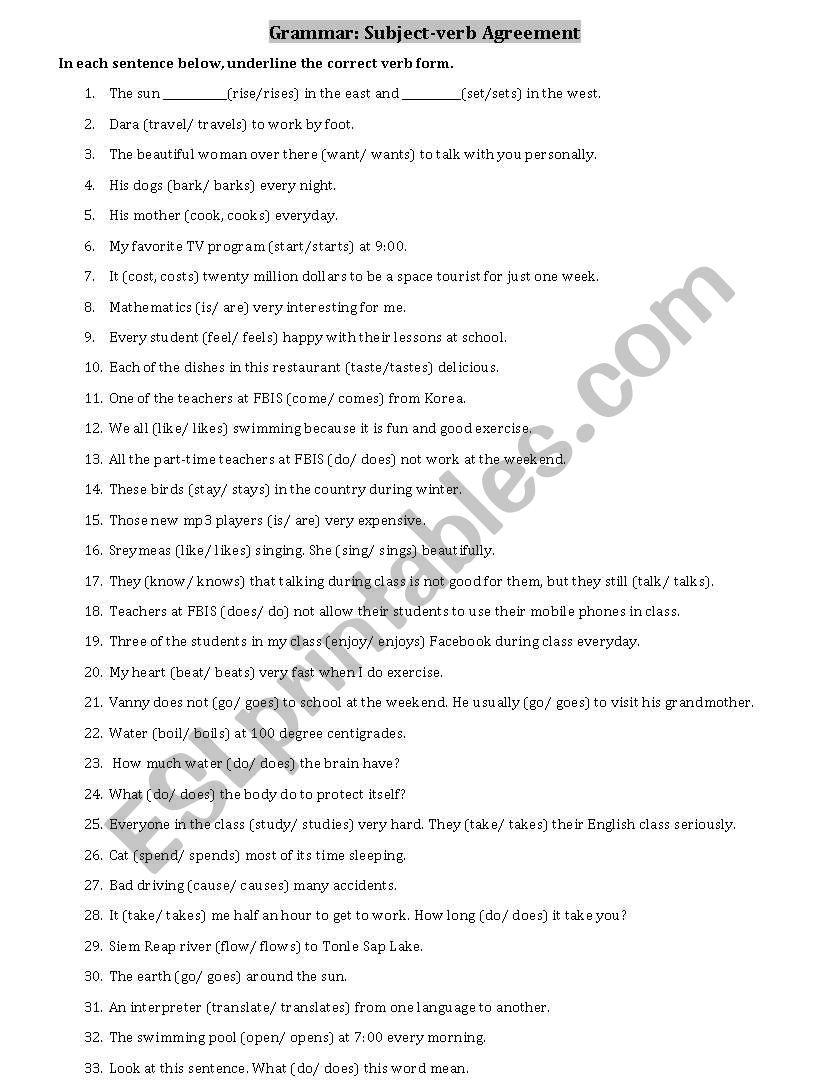 Subject-Verb Agreement - Esl Worksheetsothol | Free Printable Subject Verb Agreement Worksheets
