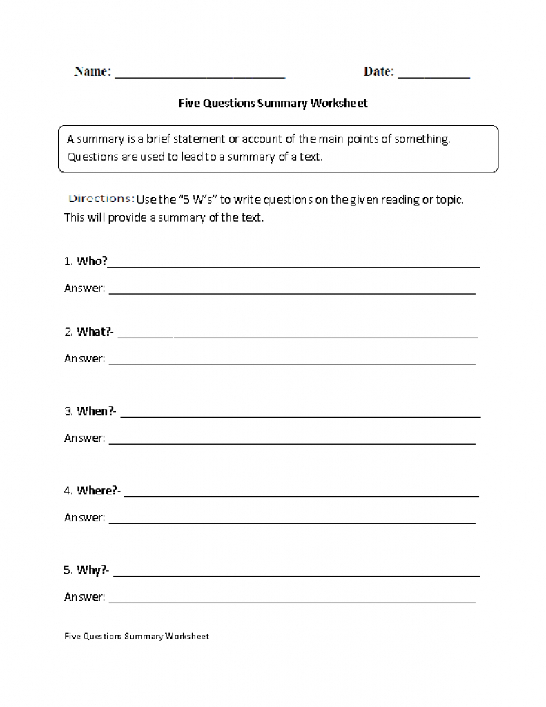 Summarizing Worksheets 4Th Grade For Printable. Summarizing Inside | Free Printable Summarizing Worksheets 4Th Grade