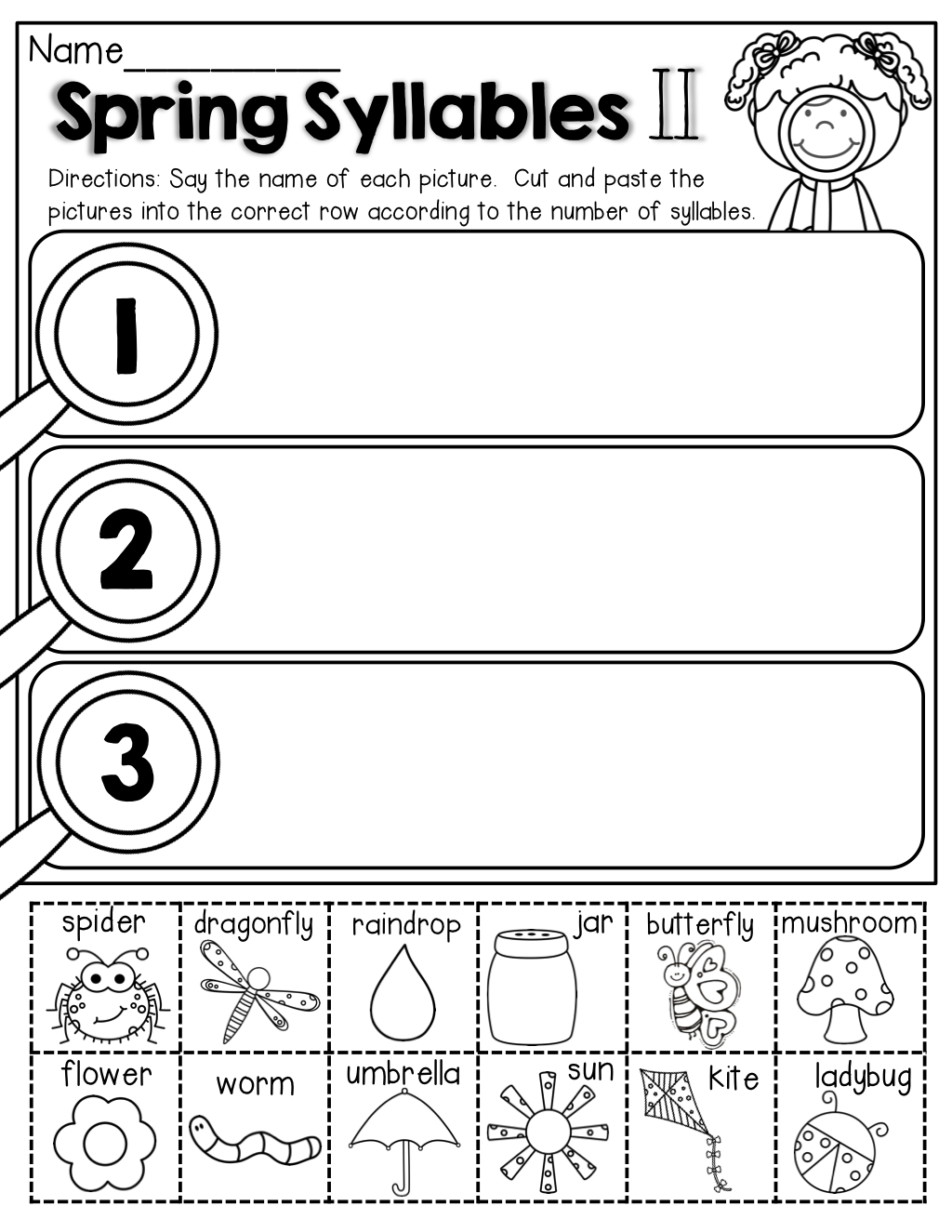 Syllables (Cut And Paste) | April Classroom | Syllables Kindergarten | Free Printable Syllable Worksheets For Kindergarten