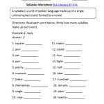 Syllables Worksheet 1 Ela Literacy.rf.3.3C Reading Foundational | 3Rd Grade Language Arts Worksheets Printables