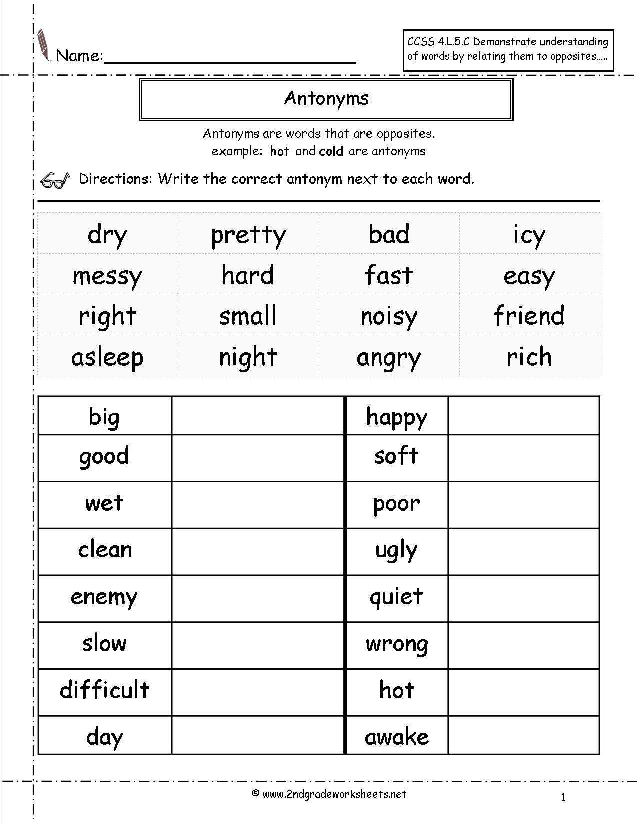 Synonyms And Antonyms Worksheets | Free Printable Antonym Worksheets