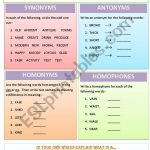 Synonyms, Antonyms, Homonyms And Homophones   Esl Worksheetmws1911 | Free Printable Worksheets Synonyms Antonyms And Homonyms