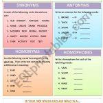 Synonyms, Antonyms, Homonyms And Homophones   Esl Worksheetmws1911 | Free Printable Worksheets Synonyms Antonyms And Homonyms