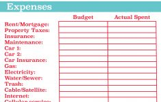 Free Printable Monthly Expenses Worksheet