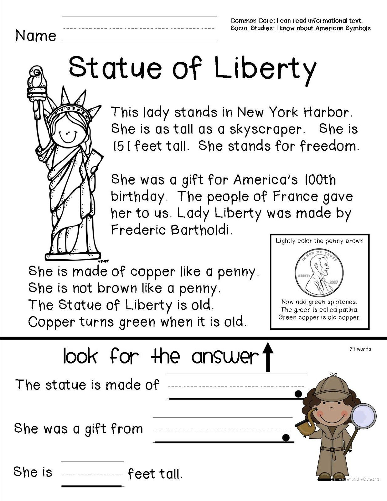 Teacher To The Core: American Symbols | Top Teachers Smorgasboard | Free Printable Social Studies Worksheets For 1St Grade