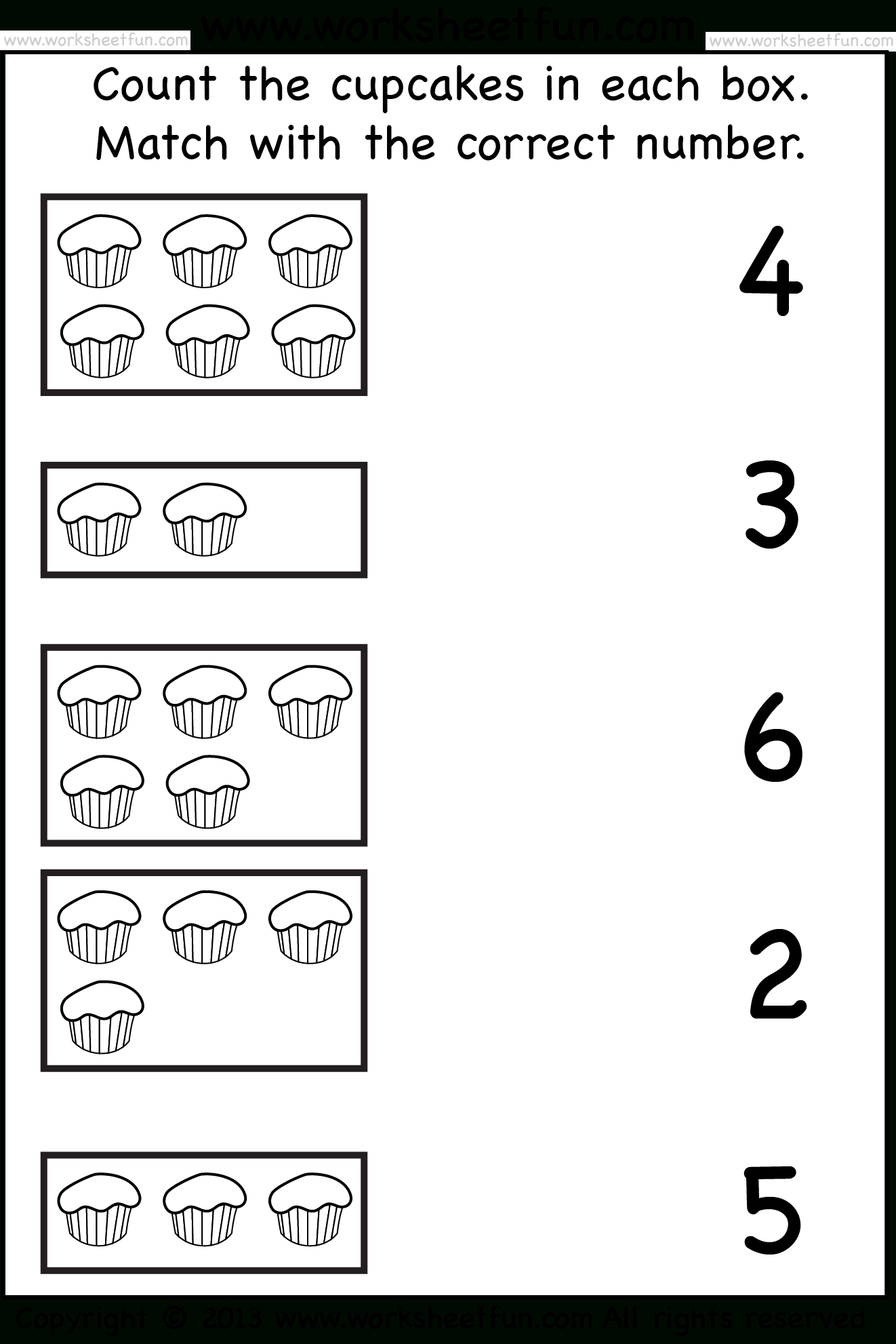 Tellen En Match_Cupcakes_Wfun_1 | -Printables- | Free Kindergarten | Counting Printable Worksheets For Kindergarten
